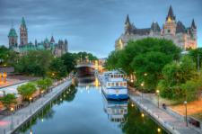 View of Rideau Canal with parliament and Chateau Laurier